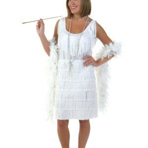 Plus Size White Flapper Girl Costume