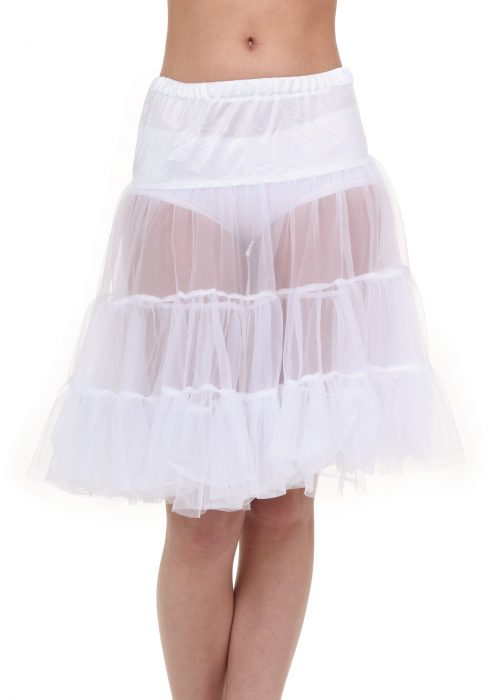 Plus Size White Knee Length Crinoline