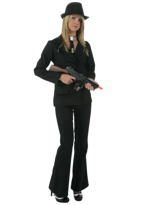 Plus Size Women's Black Gangster Costume