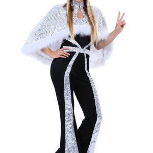 Plus Size Women's Dazzling Silver Disco Costume