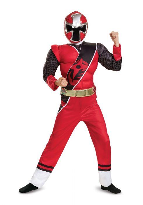 Power Rangers Ninja Steel Red Ranger Boys Muscle Costume