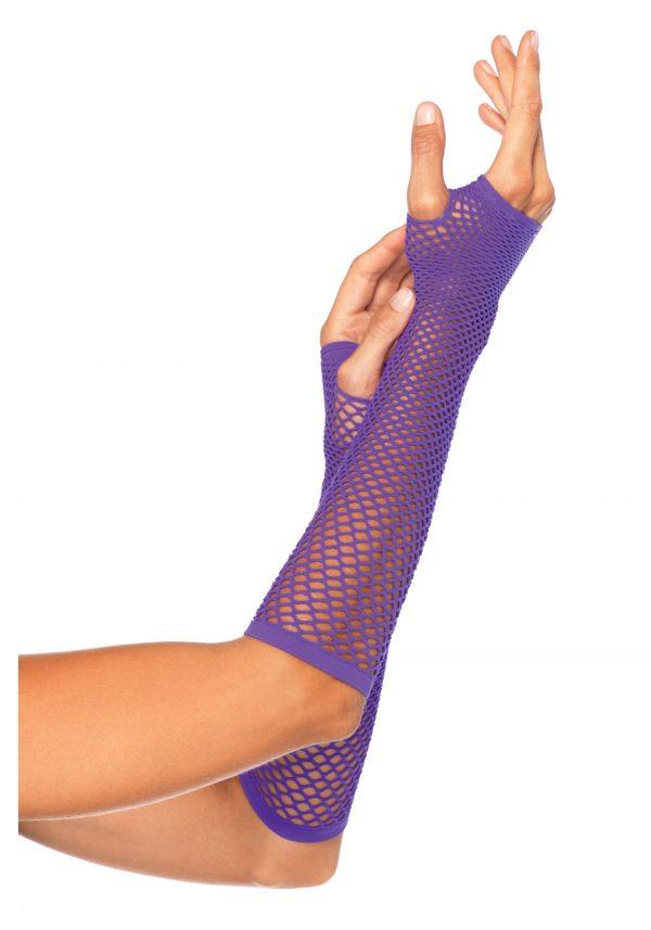 Purple Fishnet Gloves
