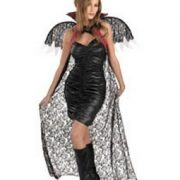 Red Black Lace Cape with Wings