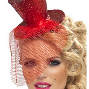 Red Glitter Mini Top Hat