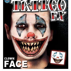 Scary Clown Face Temporary Tattoo