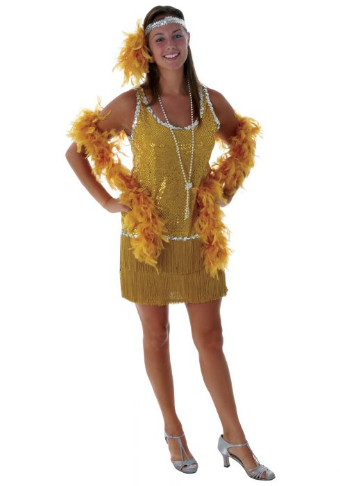 Sequin & Fringe Gold Flapper Costume