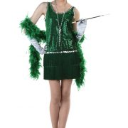 Sequin & Fringe Green Flapper Costume