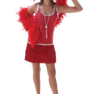 Sequin & Fringe Red Flapper Costume