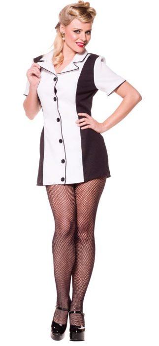 Sexy Bowling Dress Costume - Black/White