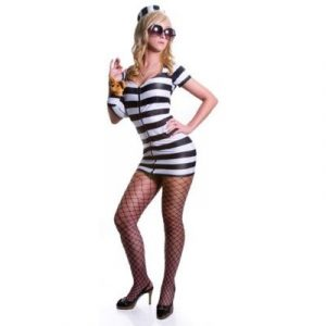 Sexy Heiress Prison Costume - White Stripes