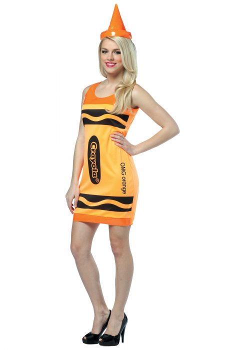 Sexy Neon Orange Crayon Dress