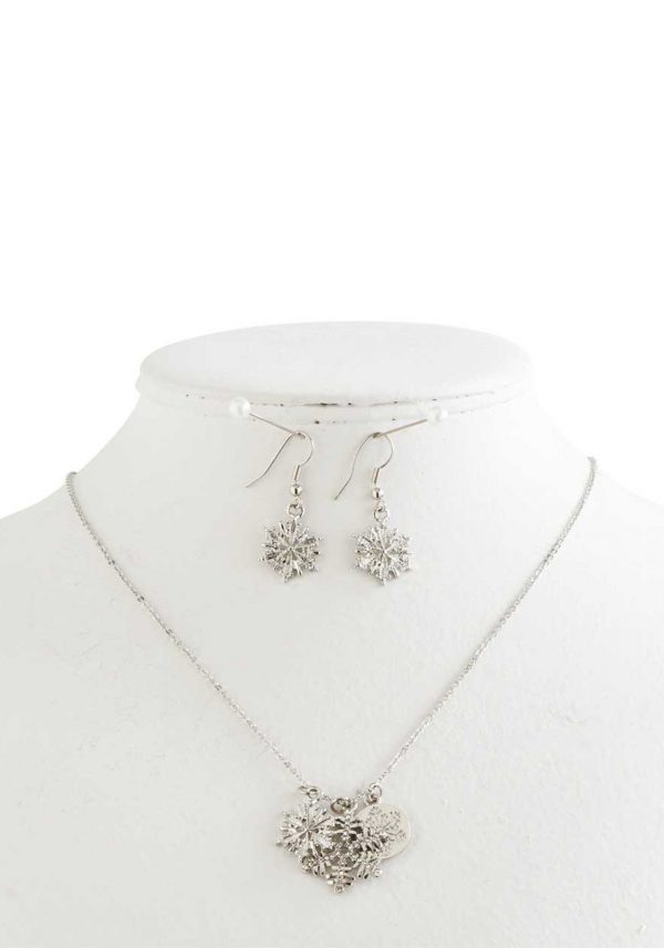 Silver & Crystal Snowflake Necklace & Earrings