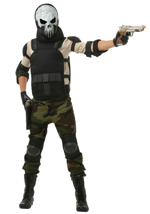 Skull Military Man Boys Costume