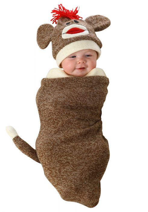 Sock Monkey Newborn Bunting