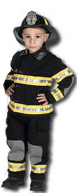 Toddler Fire Fighter Costume with Helmet- Black