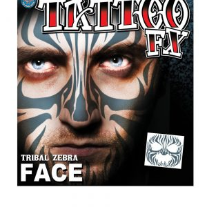 Tribal Zebra Face Temporary Tattoo