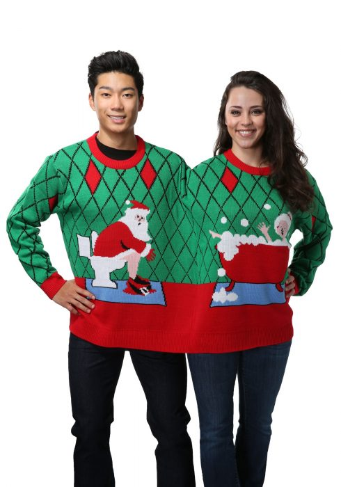 Two Person Deck The Bathroom Holiday Sweater