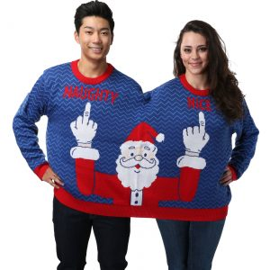 Two Person Naughty and Nice Santa Holiday Sweater