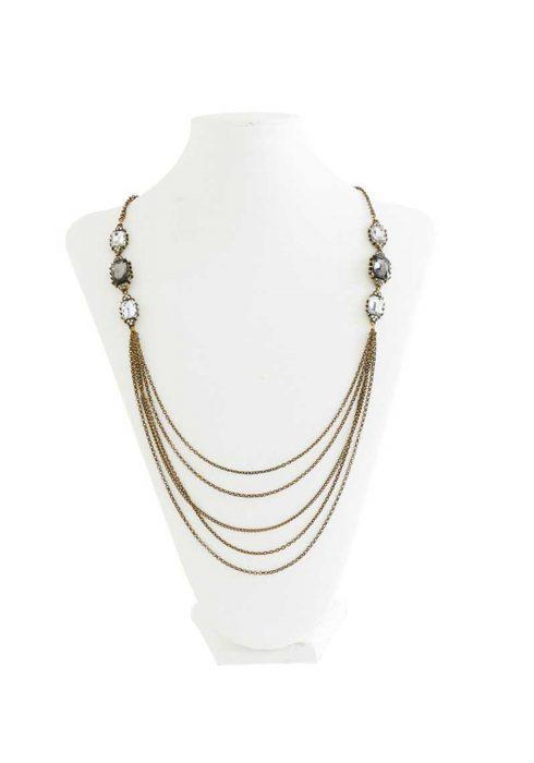 Vintage Brass Multi Chain Necklace