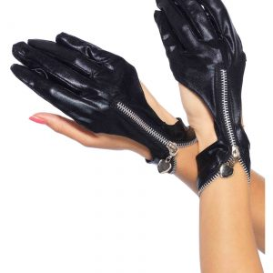 Wet Look Zipper Motorcycle Gloves