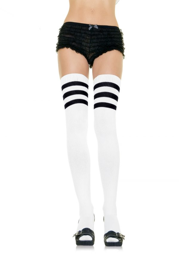 White Athletic Socks with Black Stripes