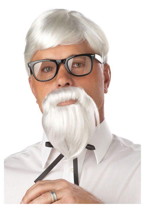 White Colonel Wig and Moustache