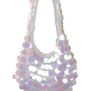 White Sequin Mini Hobo Bag