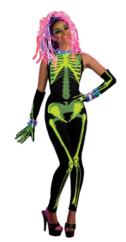 Women Neon Skeleton Costume - Ravin' Skelee Girl