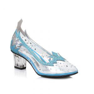 Women's Blue Glitter Clear Heels