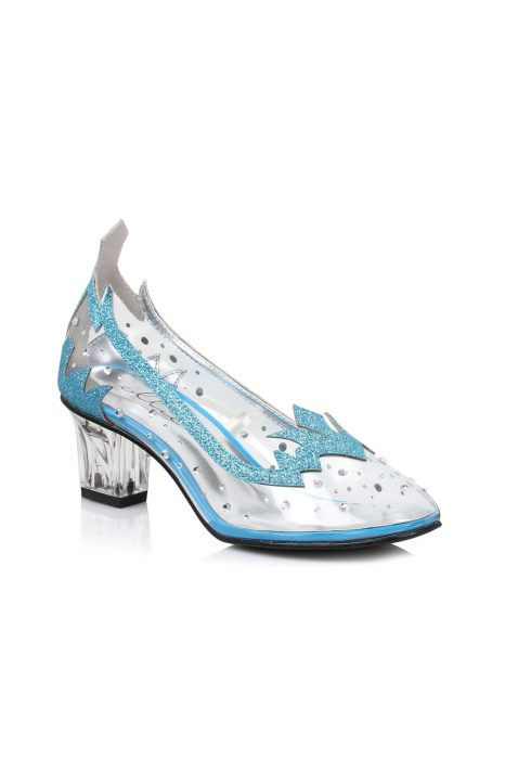 Women's Blue Glitter Clear Heels