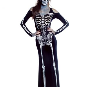 Women's Bone Appetit Skeleton Long Dress Costume