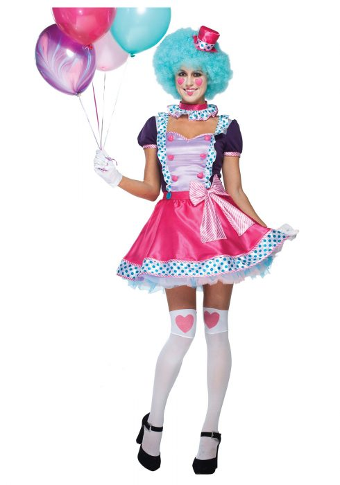 Women's Bubble Gum Clown Costume
