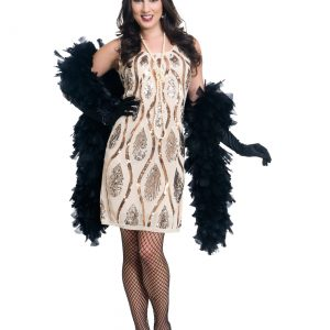 Women's Champagne Teardrop Flapper Costume