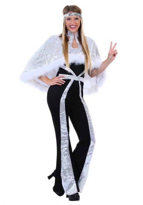 Women's Dazzling Silver Disco Costume