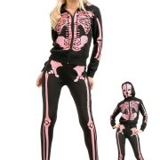 Women's Pink Skeleton Hooded Sweatshirt