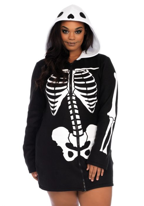Women's Plus Size Cozy Skeleton Costume