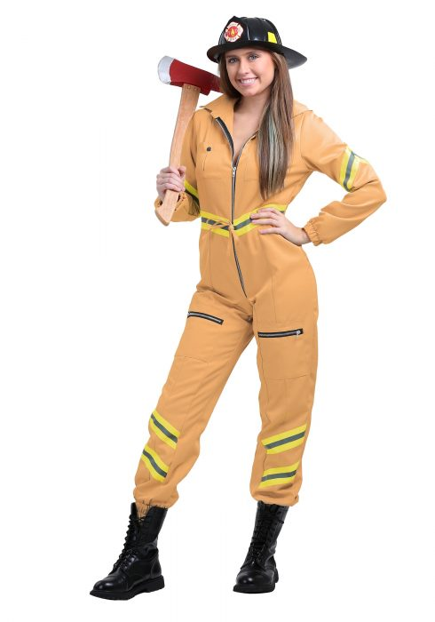 Women's Plus Size Tan Firefighter Jumpsuit
