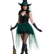 Womens Sequin Emerald Witch Costume