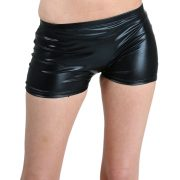 Women's Shiny Black Long Booty Shorts