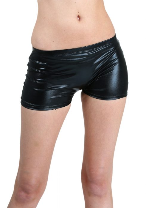 Women's Shiny Black Long Booty Shorts